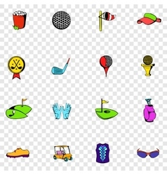 Golf set icons vector