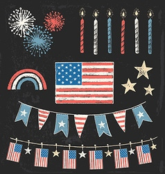 Usa fourth of july patriotic chalk flag party set vector