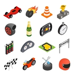 Car racing isometric 3d icons vector