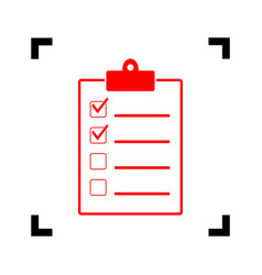 Checklist sign red icon vector