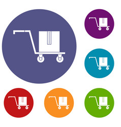 delivery cart with box icons set vector image