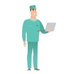 Doctor using laptop vector