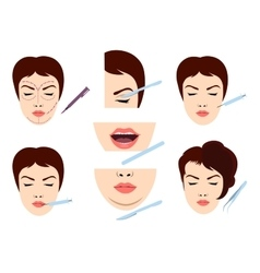 Facial cosmetic surgery icons vector
