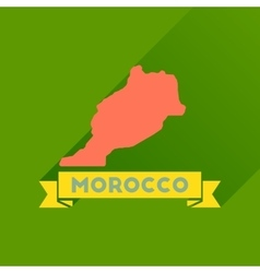 Flat icon with long shadow morocco map vector