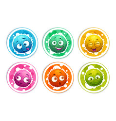 funny bright round stickers with cartoon fluffy vector image vector image
