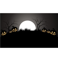 Halloween pumpkins scary and moon vector