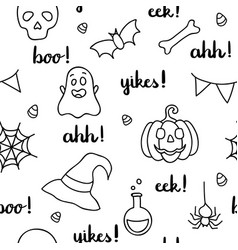 halloween words lettering and items black outline vector image vector image