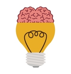 Light bulb with brain in top vector