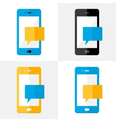 Mobile Notification Flat Icons Set vector image vector image