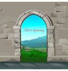 Old brick arch and natural landscape behind it vector