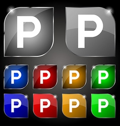 Parking icon sign set of ten colorful buttons with vector