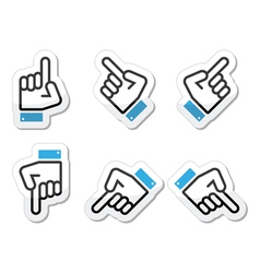 Pointing hand - up down across icon vector
