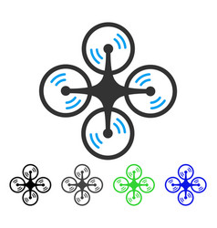 Quadcopter screw rotation flat icon vector