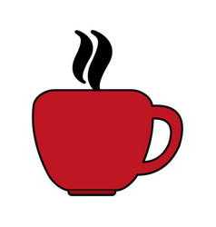 Red color silhouette cup of coffee with steam vector