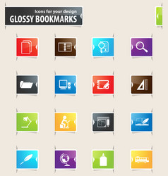 school bookmark icons vector image