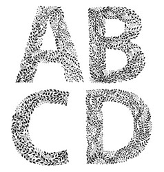 Set of letters a b c and d vector