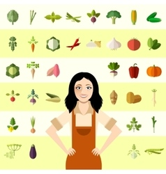 Set of vegetable icons and a gardener woman vector