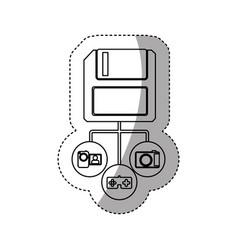 Sticker silhouette diskette storage device icon vector