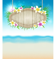 Summer tropical background with flowers vector