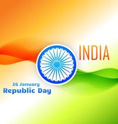 Tri color indian flag design for republic day vector