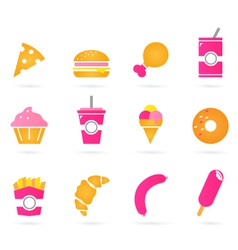 Unhealthy food icons isolated on white vector image vector image
