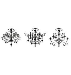 vintage elegant chandelier set luxury vector image