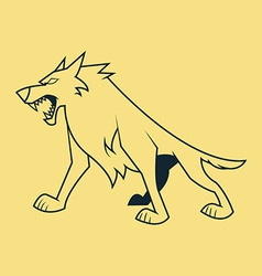 Wolf stand line art vector