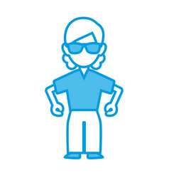 Woman with sunglasses ilustration icon vector