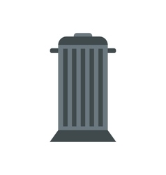 Gray trash can with lid icon flat style vector