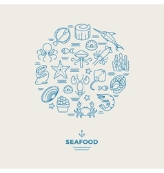 Marine animals seafood thin line icons in circle vector