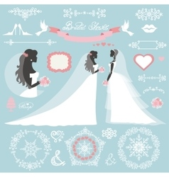 Wedding bridal shower winter decor set vector