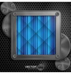 Metallic frame with screws vector