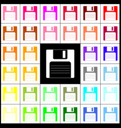 Floppy disk sign  felt-pen 33 colorful vector