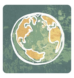 Earth grunge icon vector