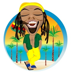 Cheerful rastafarian and palm tree beach vector