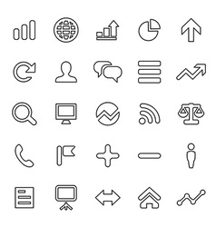 25 outline universal analytics research icons vector