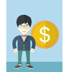 Happy businessman standing with a big dollar coin vector