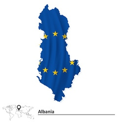Map of albania with european union flag vector
