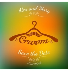 Brown hangers with groom word and moustache over vector