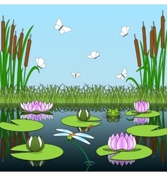 Colorful cartoon background with pond inhabitants vector image