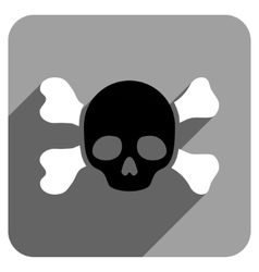 Skull and bones flat square icon with long shadow vector