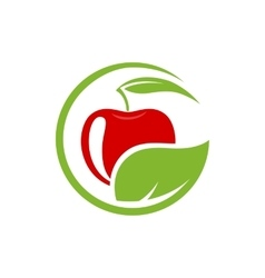 sign with red fruit Logo for Cosmetics vector image
