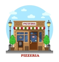 City italian pizzeria facade front view vector