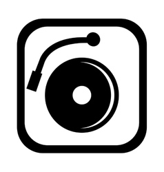 black and white dj turntable graphic vector image