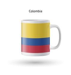 Colombia flag souvenir mug on white background vector