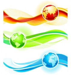 color waves and globes vector image