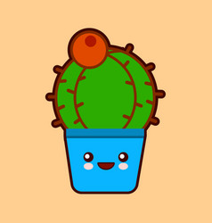 Cute cartoon cactus icon with funny face in pot vector