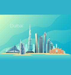 dubai city landscape emirates architecture vector image