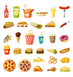 fast food icons isolated burgers sandwiches vector image vector image