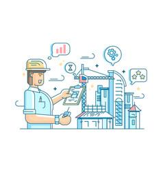 Foreman controls construction of building vector